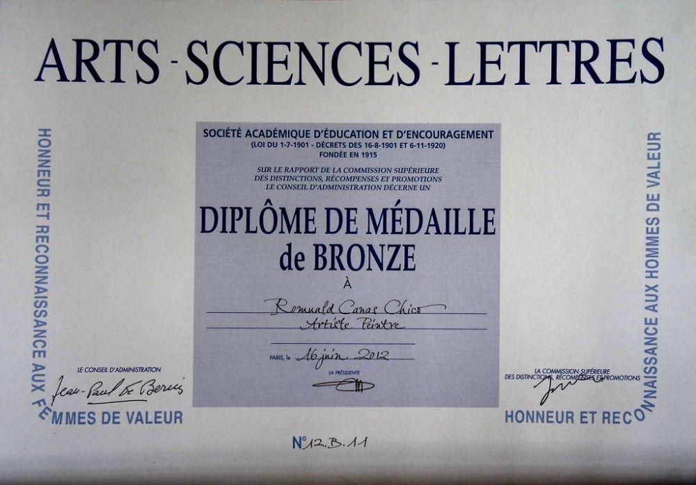 Diplôme médaille de Bronze de l'Académie Arts-Sciences-Lettres 2012