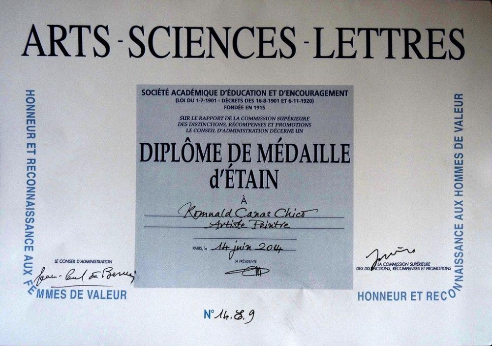 Diplome médaille d'Etain Académie Arts-Sciences-Lettres 2014