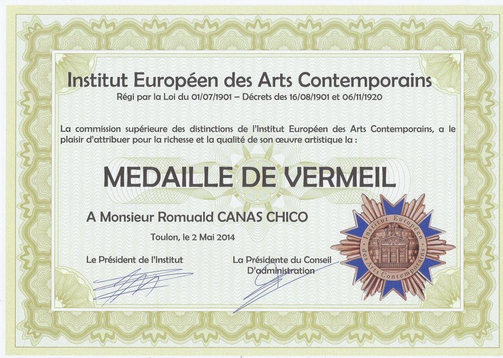 Médaille de Vermeil - Institut Européen des Arts Contemporains 2014