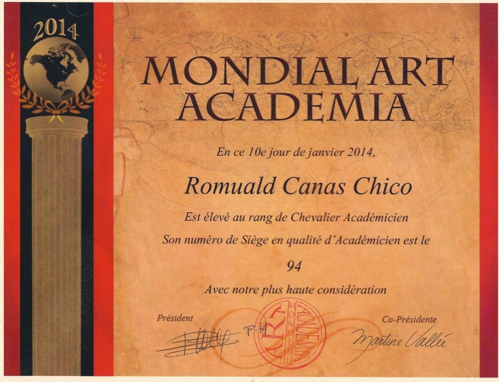 Diplôme au rand de Chevalier Academicien à Mondial Art Académia