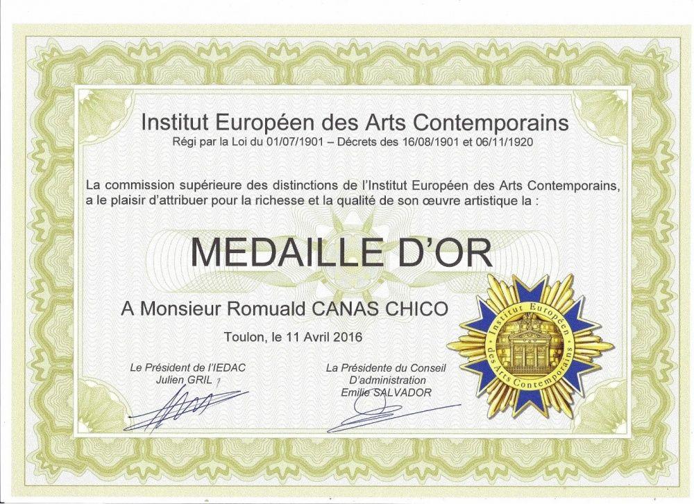 Médaille d'or Institut Européen des Arts Contemporains