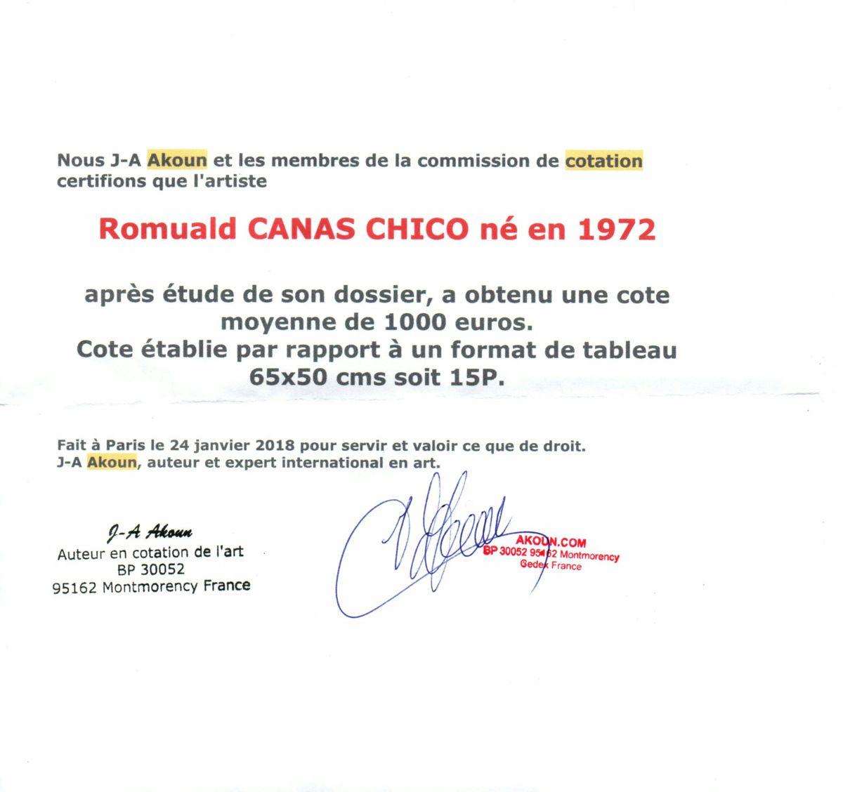 Certificat de cotation Akoun
