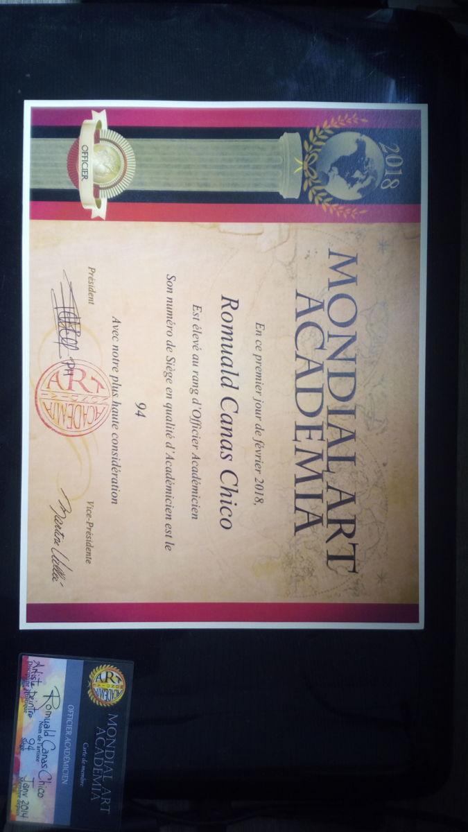 Diplôme au rang d'Officier Académicien à Mondial Art Academia