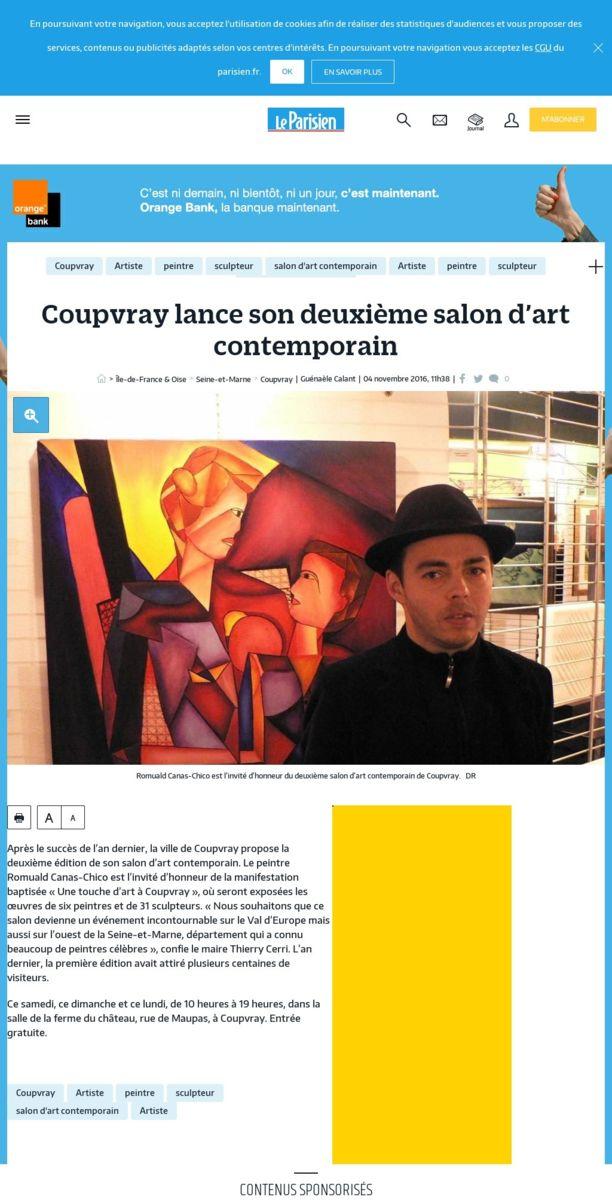 Article de presse du journal Le Parisien  2016
